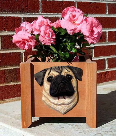 Pug Planter Flower Pot Fawn 1