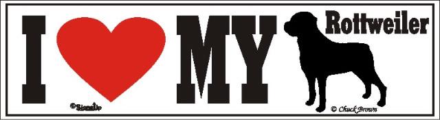 I Love My Rottweiler Dog Bumper Sticker
