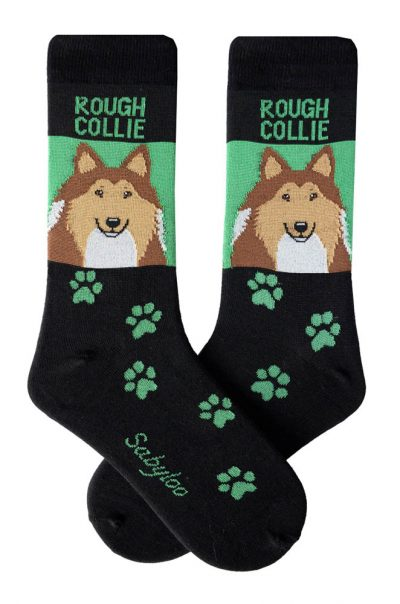 Rough Collie Socks - Black & Green in Color