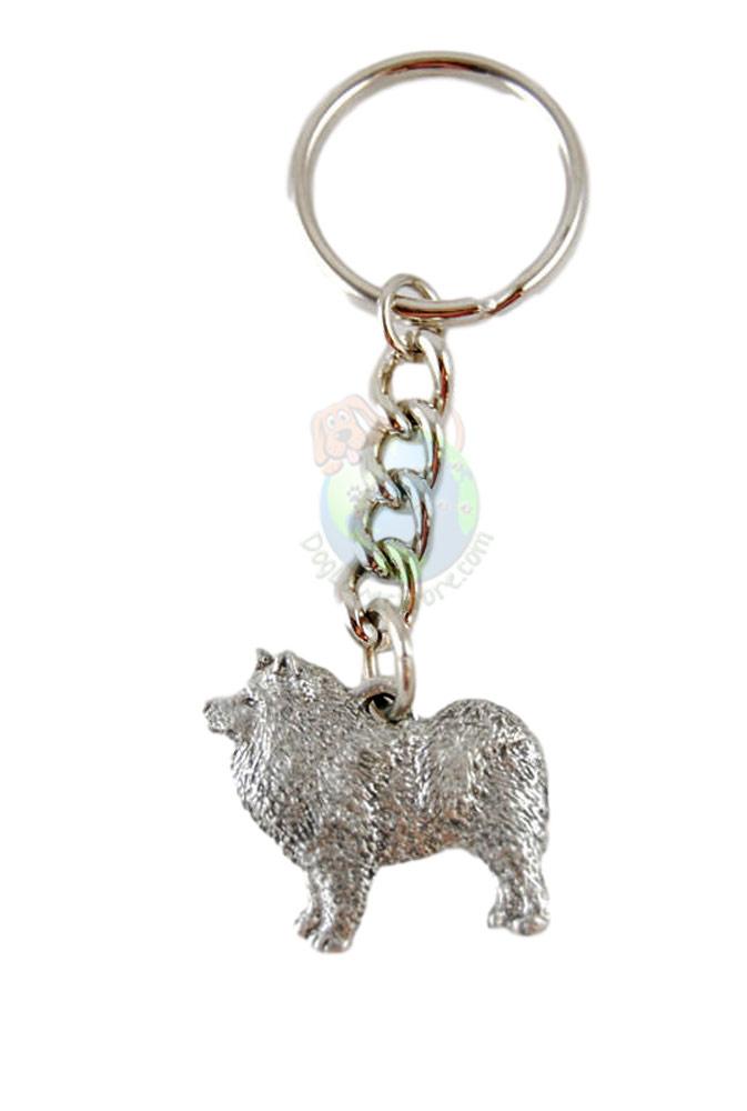 Samoyed Pewter Keychain