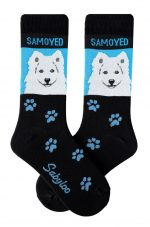 Samoyed Socks - Black and Blue in Color