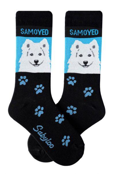 Samoyed Socks - Black and Blue in Color