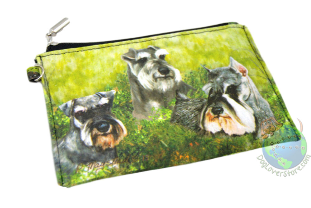 3 Gray Schnauzers Sitting in Field Design on Coin Bag Zippered Wallet