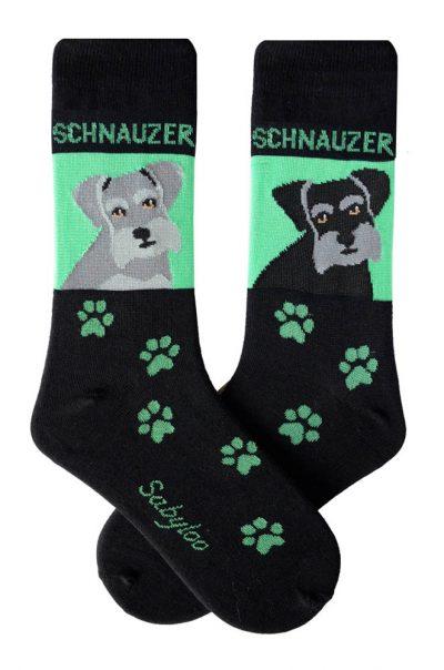 Schnauzer Gray & Dark Gray Socks - Green and Black in Color
