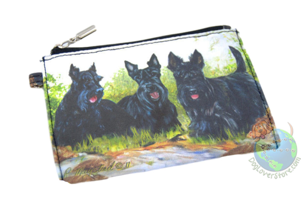 3 Scottish Terriers Sitting in Field on Zippered Coin Bag
