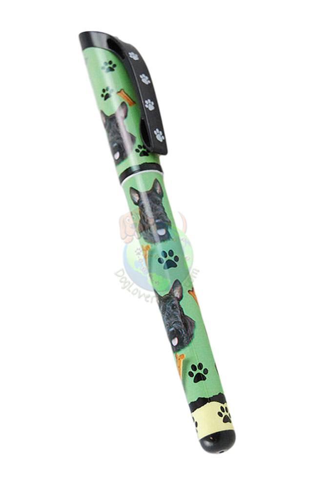 Scottish Terrier Writing Pens Green in Color