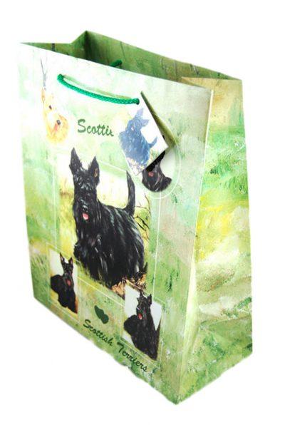 Scottish Terrier Gift Bag Green in Color
