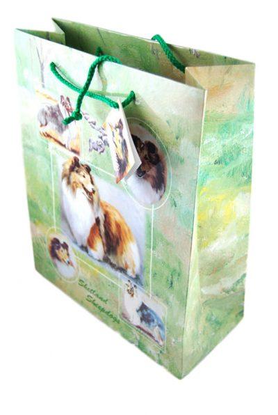 Sheltie Gift Bag Green in Color