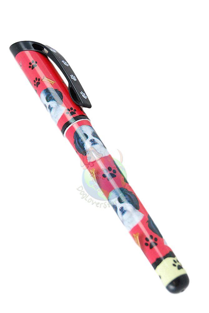 Black & White Shih Tzu Puppy Cut Writing Pen Red in Color