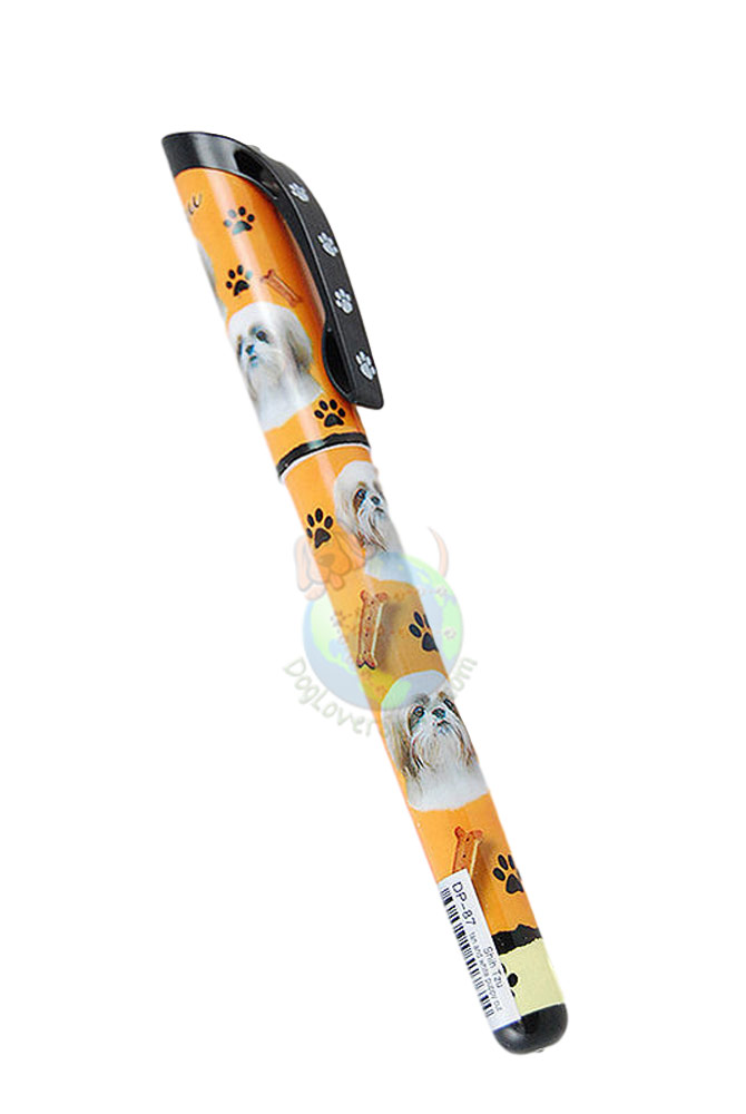 Tan & White Puppy Cut Shih Tzu Writing Pen Orange in Color
