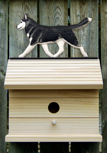 Siberian Husky Black White Outdoor Wood Bird House