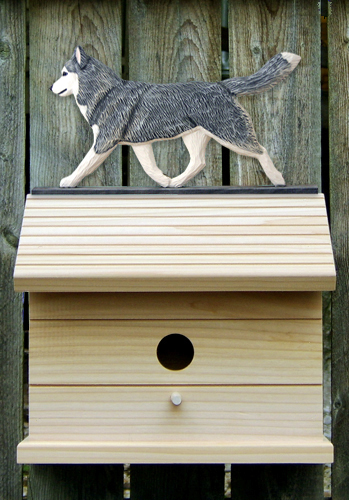 Siberian Husky Gray White Outdoor Wood Bird House