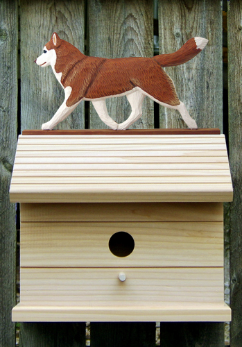 Siberian Husky Red White Outdoor Wood Bird House