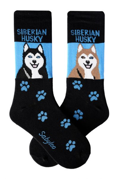 Siberian Husky Black/White and Red/White Socks - Black and Blue in Color