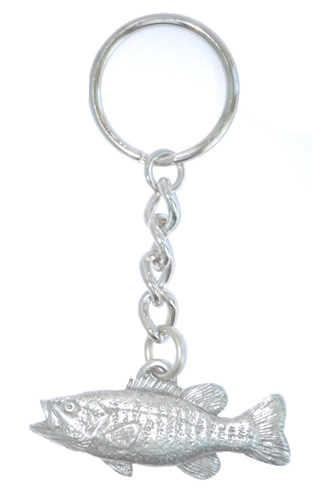 Small Mouth Bass Keychain Pewter