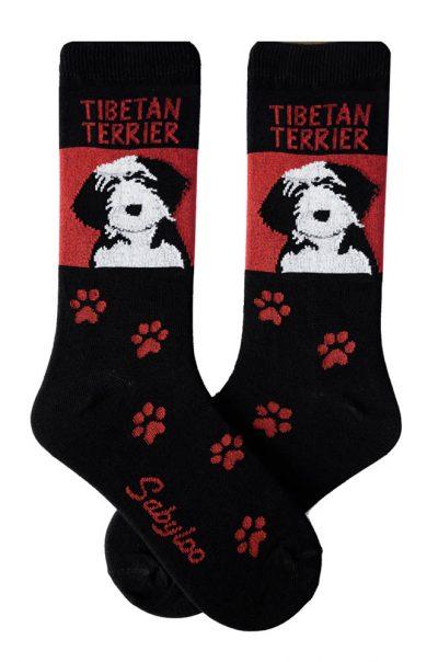 Tibetan Terrier Socks - Red & Black in Color
