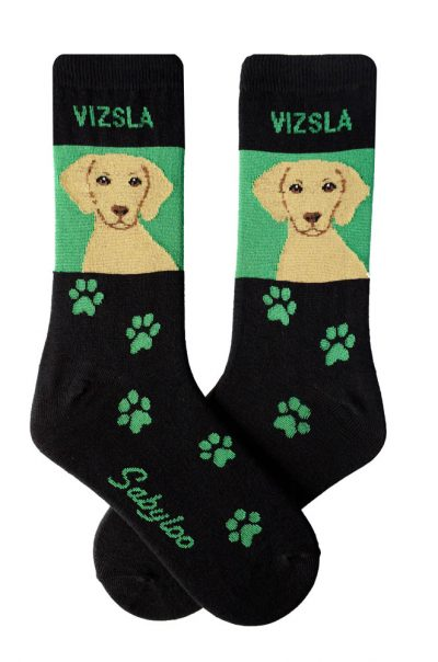 Vizsla Socks - Black & Green in Color