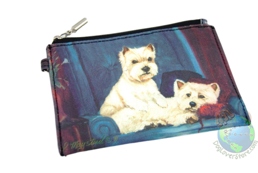 2 Westies Sitting on Couch Design on Zippered Coin Bag Wallet