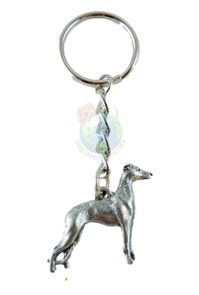 Whippet Pewter Keychain
