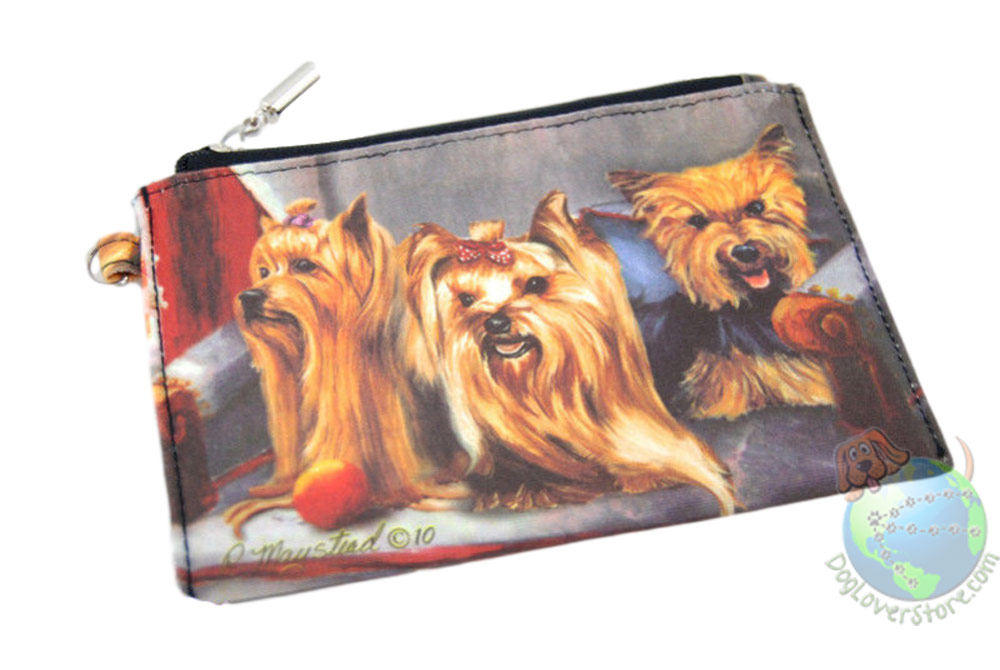 3 Yorkies Sitting on Couch Design on Zippered Wallet Bag