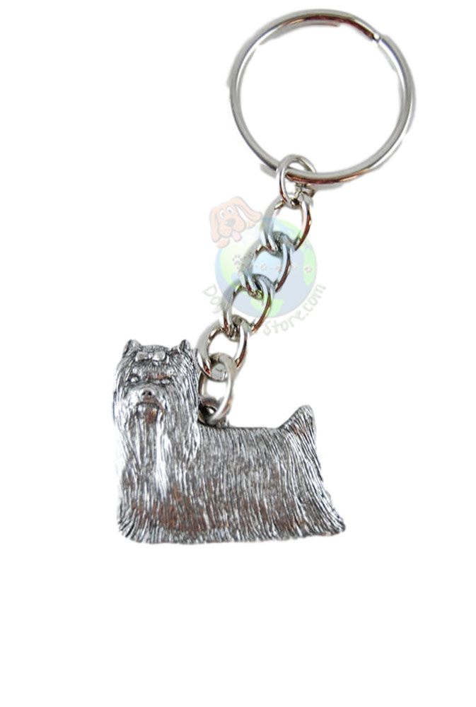Yorkie Long Hair Pewter Keychain