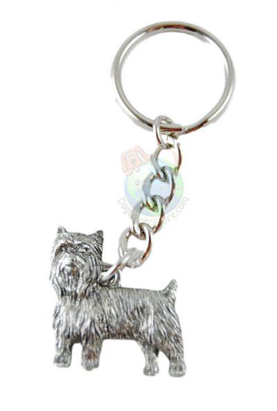 Yorkie Puppy Cut Pewter Keychain