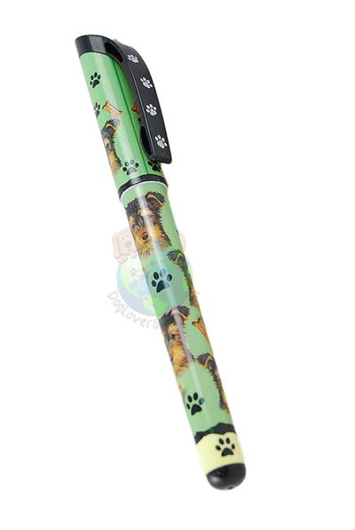 Puppy Cut Yorkie Writing Pen Green in Color