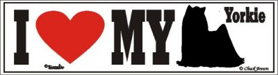 I Love My Yorkie Yorkshire Dog Bumper Sticker 1