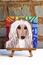 Affghan Hound Tan/White Colorful Portrait Original Artwork on Ceramic Tile 4x4 Inches