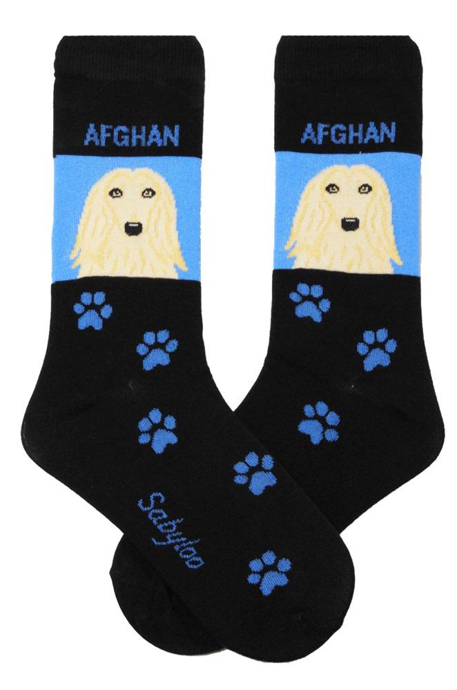 Afghan Hound Socks on Blue Background