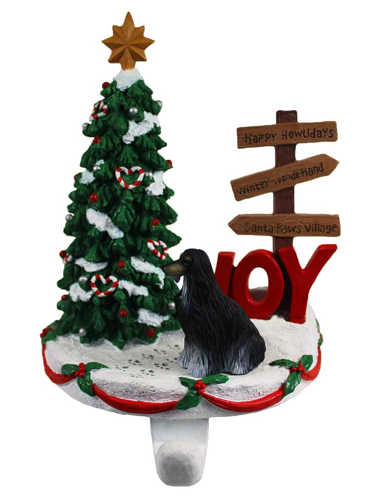 Afghan Hound Stocking Holder Hanger Black