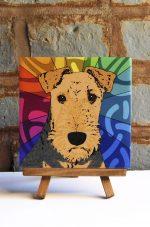 Airedale Colorful Portrait Original Artwork on Ceramic Tile 4x4 Inches