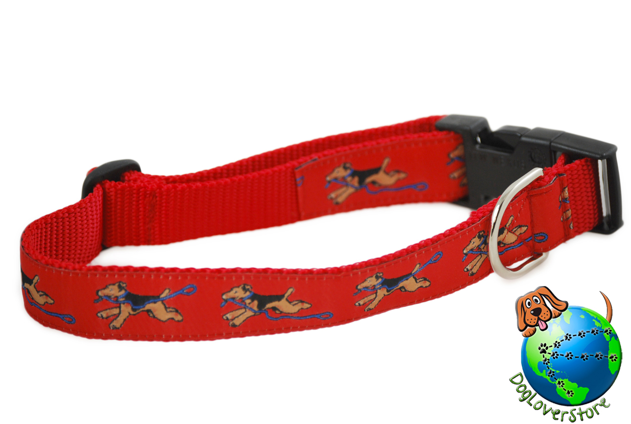 "Airedale Collar - Adjustable 12-20"" Red Nylon"