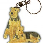 Airedale Wooden Dog Breed Keychain Key Ring 1
