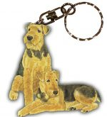 Airedale Wooden Dog Breed Keychain Key Ring