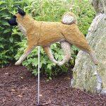 Akita Garden Stake Sign Figurine Fawn