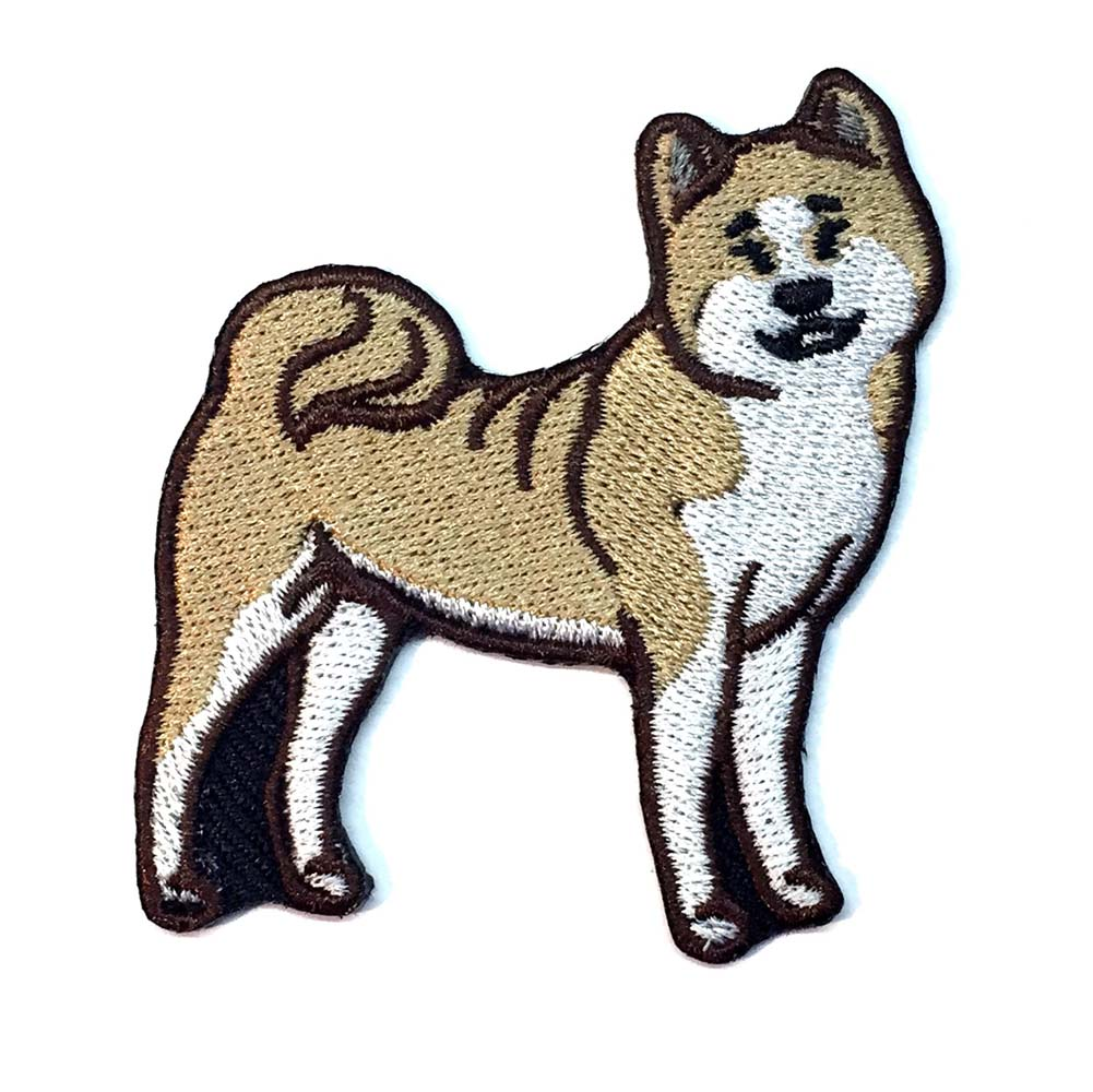 Akita Iron on Embroidered Patch Fawn