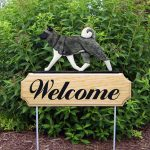 Akita Outdoor Welcome Yard Sign Gray in Color