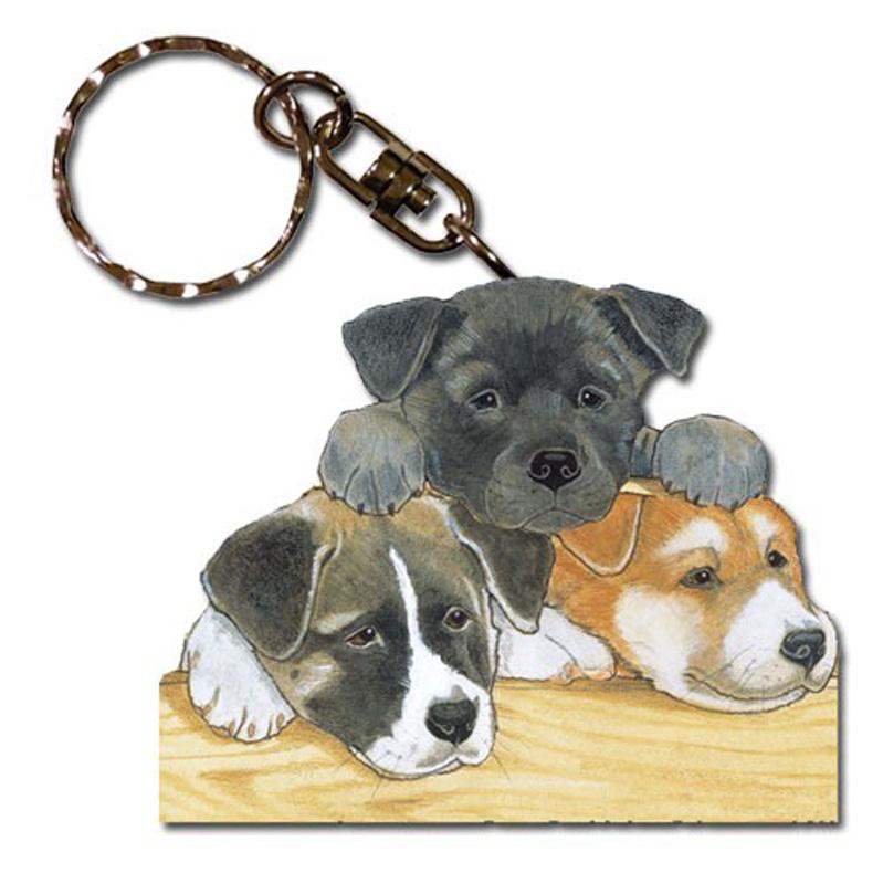 akita_puppies_wooden_keychain