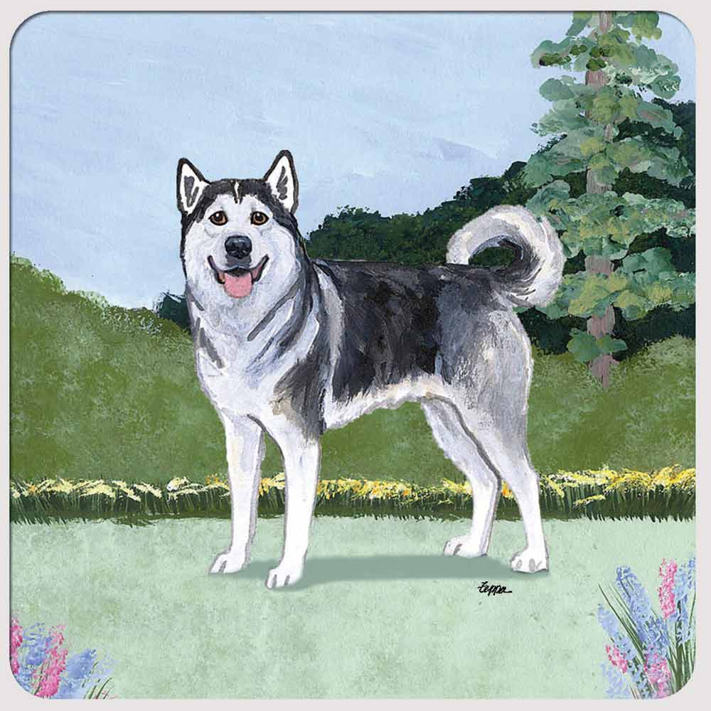 Alaskan Malamute Yard Scene Coasters Set of 4