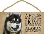 Alaskan Malamute Sign - A House is Not a Home Without A Dog + Bonus Coaster