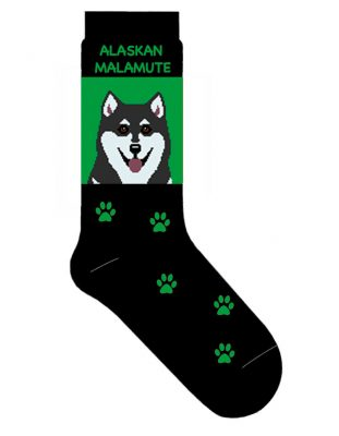alaskan-malamute-socks-green
