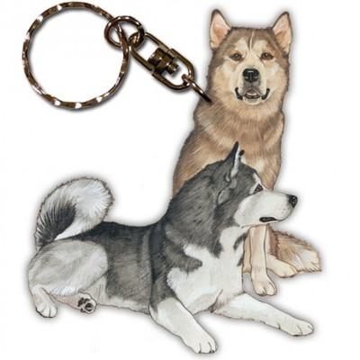 Malamute Wooden Dog Breed Keychain Key Ring 1