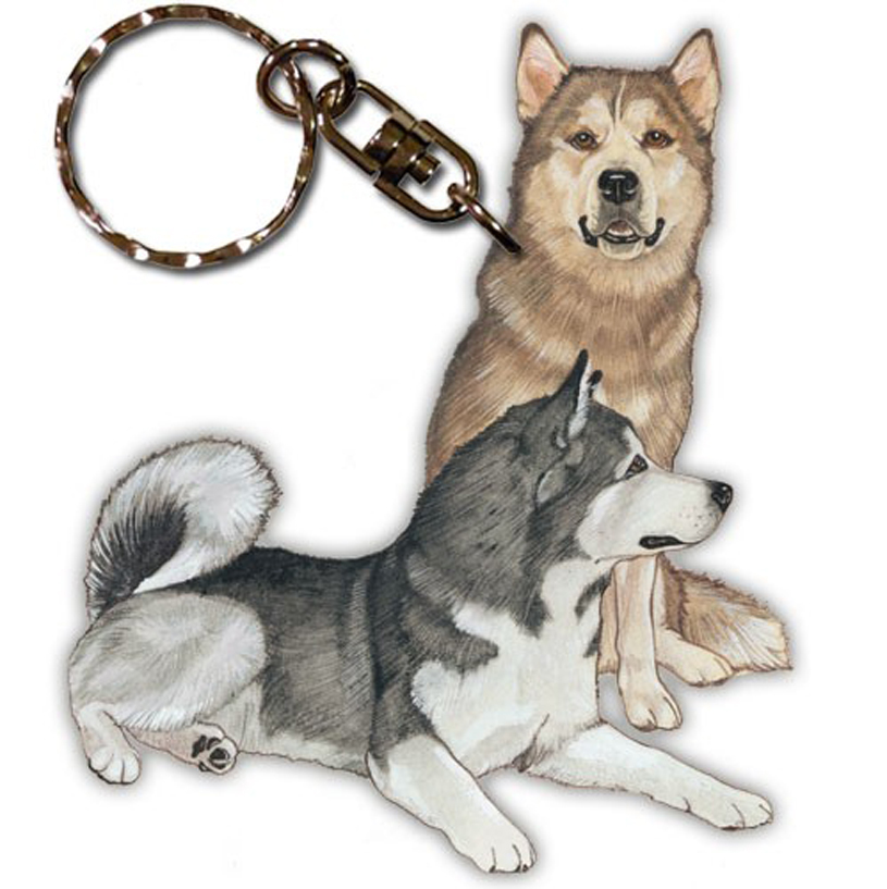Malamute Wooden Dog Breed Keychain Key Ring