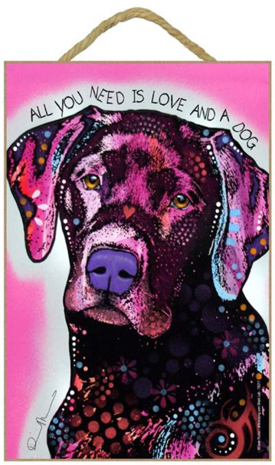 Black Lab Sign – All You Need is Love & a Dog 7 x 10