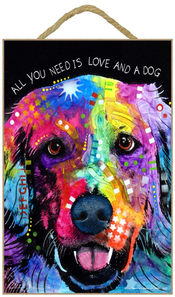 Golden Retriever Sign - All You Need is Love & a Dog 7 x 10.5