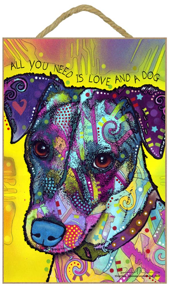 Jack Russell Terrier Sign - All You Need is Love & a Dog 7 x 10.5
