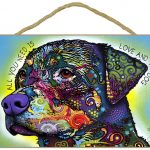 Rottweiler Sign – All You Need is Love & a Dog 7 x 10