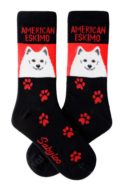 American Eskimo Socks Red & Black in Color