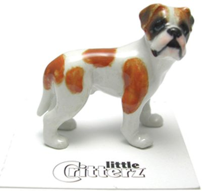 Bulldog Hand Painted Porcelain Miniature Figurine American 1
